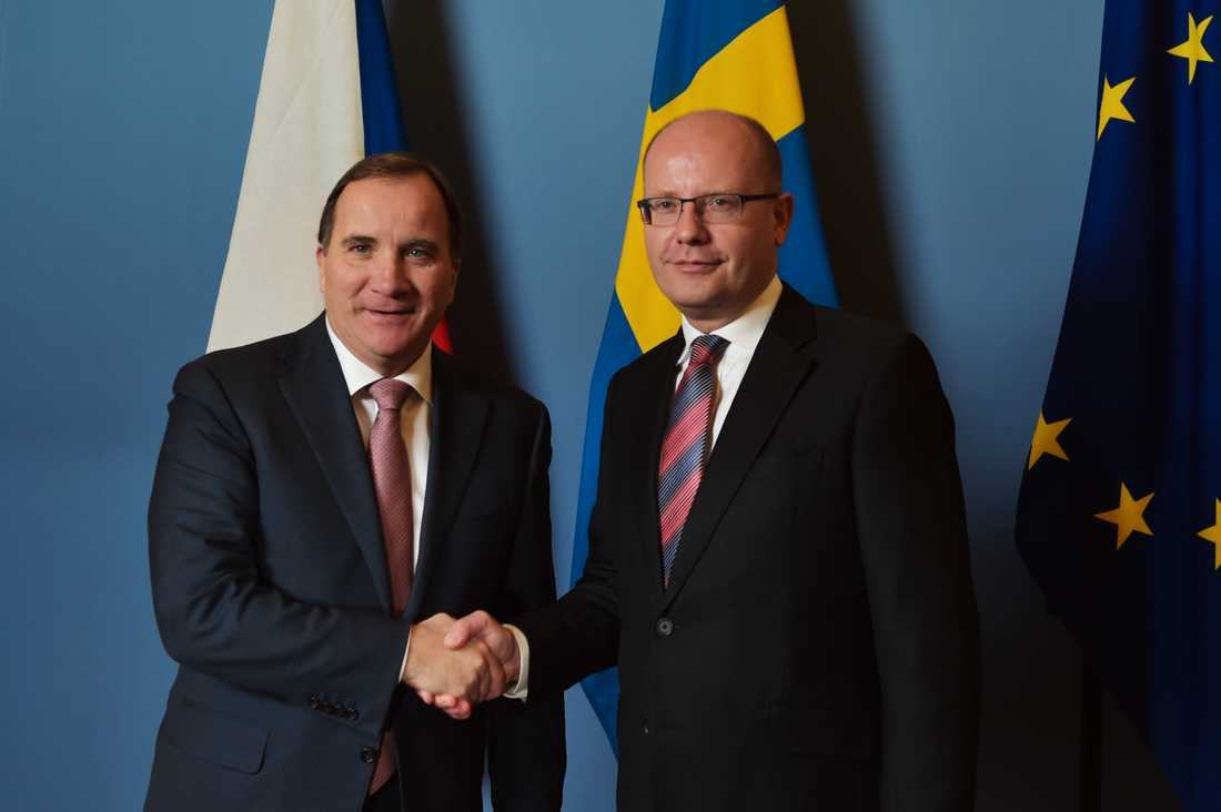 Bohuslav Sobotka träffade statsminister Stefan Löfven vid ett besök i Stockholm i höstas. Arkivbild.