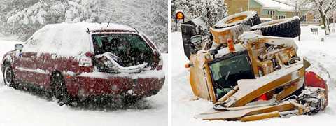 En snöröjningstraktor åkte av vägen vid Listerby i Blekinge, och kort därpå inträffade en trafikolycka på E22 vid Bräkne-Hoby. Inga allvarliga personskador rapporterades vid de bägge olyckorna, men vidBräkne-Hoby fördes två personer till sjukhusoch olyckan orsakade kilometerlånga köer.