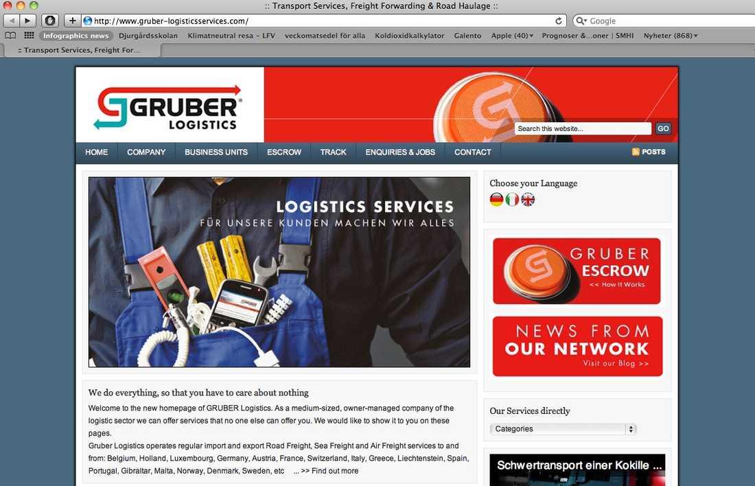 Den falska Gruber-sajten.