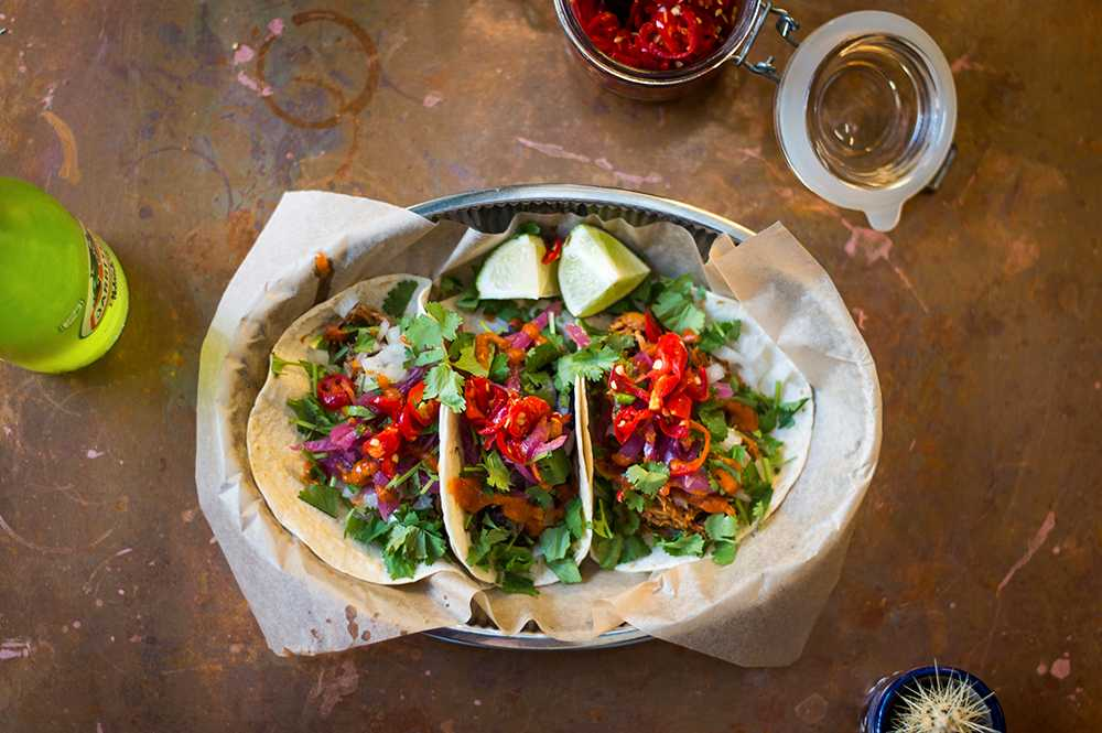 Tre olika sorters tacos