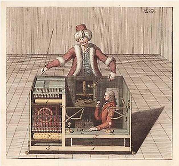 """FÖREBILDEN  Skiss av """"den mekaniska turken"""", en schackspelande docka som vann över både Napoleon och Benjamin Franklin. I skåpet gömde sig en framstående schackspelare som styrde dockan."""