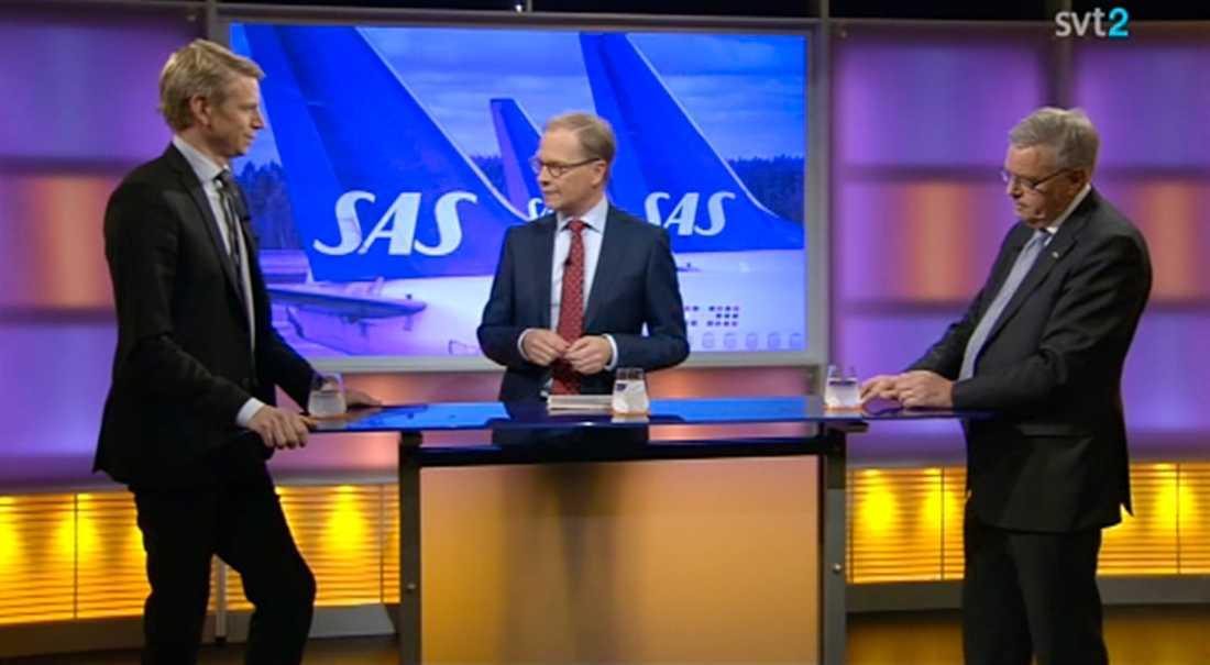 Carl B Hamilton (FP) och Per Bolund (MP) i kvällens Agenda i SVT tillsammans med Mats Knutson.