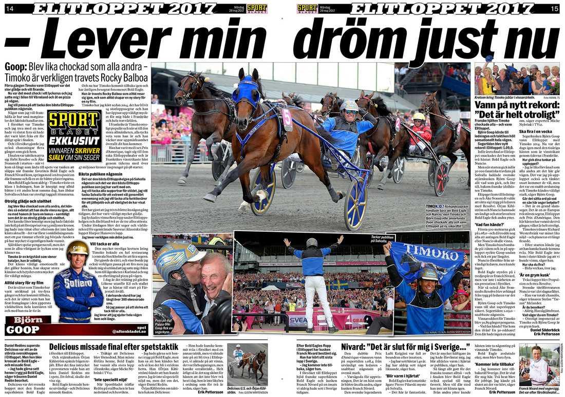 Sportbladet måndagen 29 maj. Björn Goop skrev själv, exklusivt för Sportbladet, efter sin andra Elitloppsseger med Timoko.