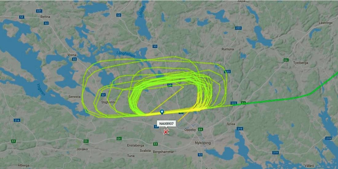 Flygplanets märkliga rutt gick att följa på radarsidor.