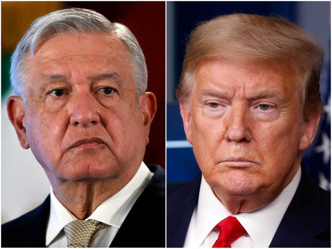 Mexikos president Andrés Manuel López Obrador (bilden till vänster) kommer att ha sitt första möte med president Donald Trump då han flyger till Washington i juli. Arkivbild.