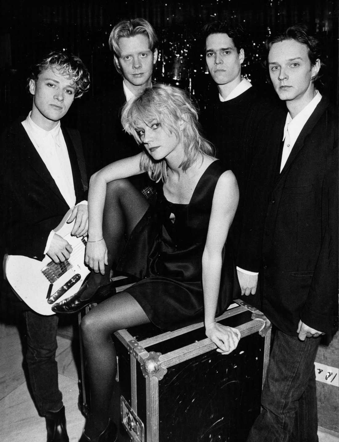 Lolita Pop i mars 1989. Från vänster: Sten Booberg, Per Ståhlberg, Karin Wistrand, Henrik Melin, Benkt Söderberg.