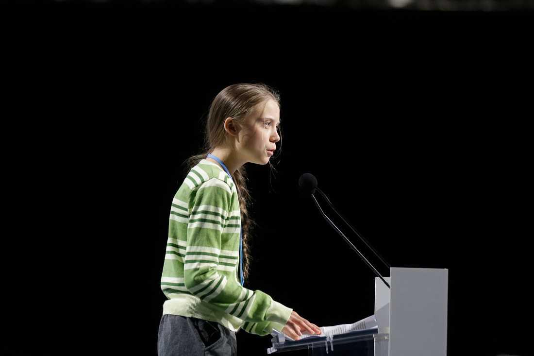 Greta Thunberg vid klimatmötet i Madrid.