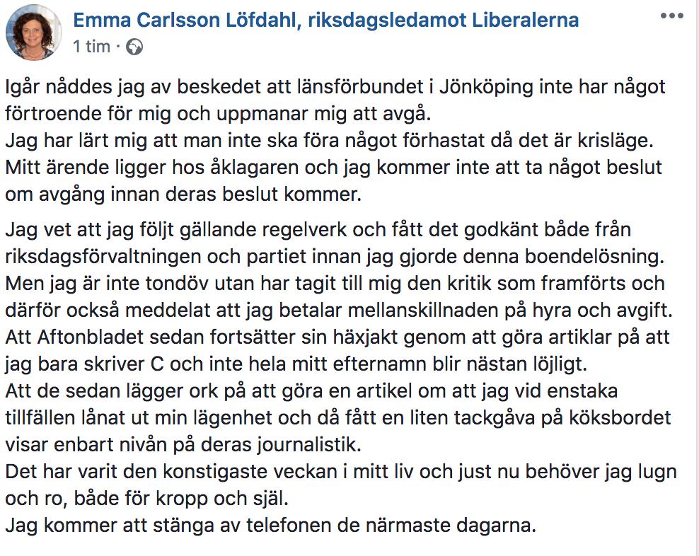 Emma Carlsson Löfdahls inlägg på Facebook.