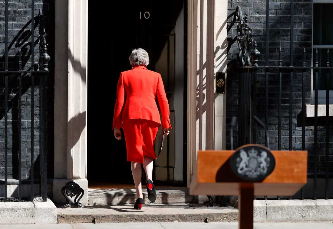 Theresa May efter att hon meddelat sin avgång den 24 maj. Arkivbild.