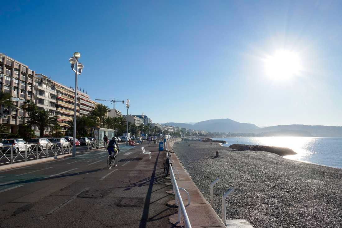 Strandpromenaden Promenade des Anglais i Nice. Arkivbild.