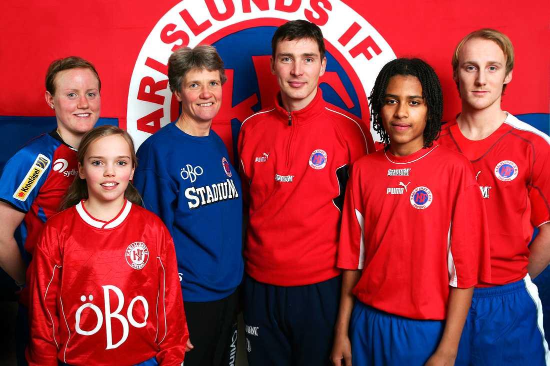 Karlsunds IF dam och herr, med bland annat Marie Hammarström, Pia Sundhage och Isaac Kiese Thelin