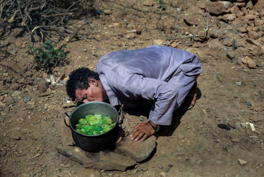 Mannen kokar bladen åt sina barn.