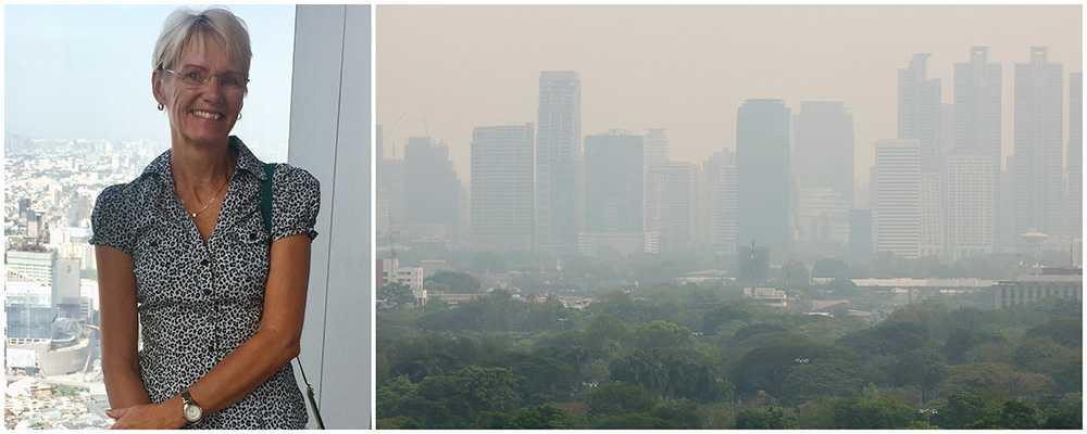 Det är svårt att se höga byggnade på håll i Bangkok på grund av smogen.