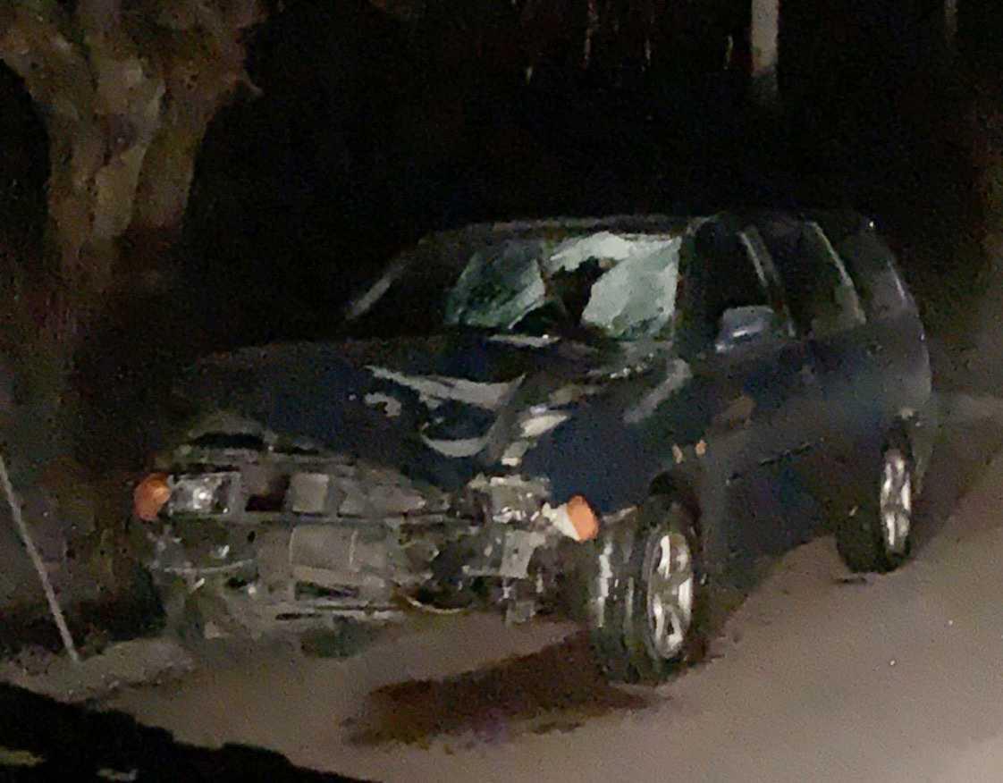 Bilen som hittades i närheten av olycksplatsen.