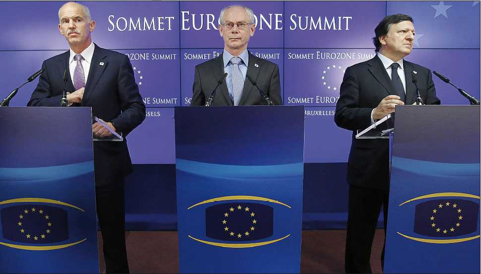 mer än pengaproblem Greklands premiärminister George Papandreou och EU-ledarna Herman Van Rompuy och Jose Manuel Barroso presenterade i går en uppgörelse om stöd till Grekland. Men Eurokrisen handlar om mer än grekiska skulder.