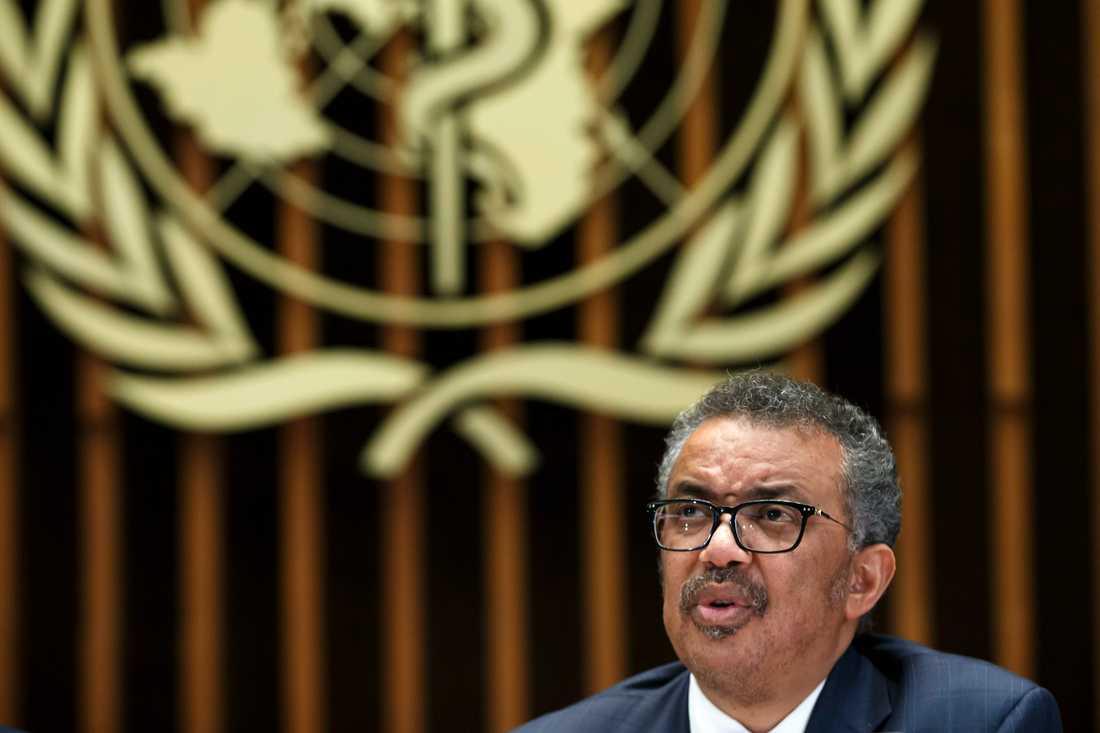 WHO:s generaldirektör Tedros Adhanom Ghebreyesus vid onsdagens presskonferens i Genève.