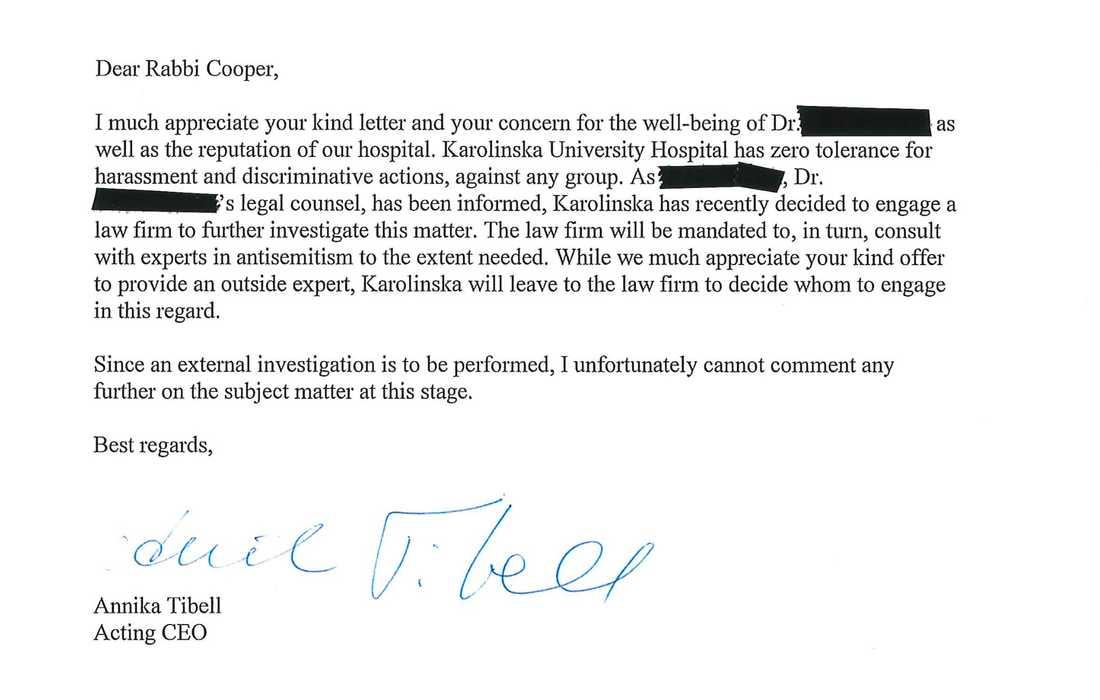 Chefsdirekören på Karolinska Universitetssjukhuset Annika Tibells svar till rabbinen Abraham Cooper på Simon Wiesenthal-centret.
