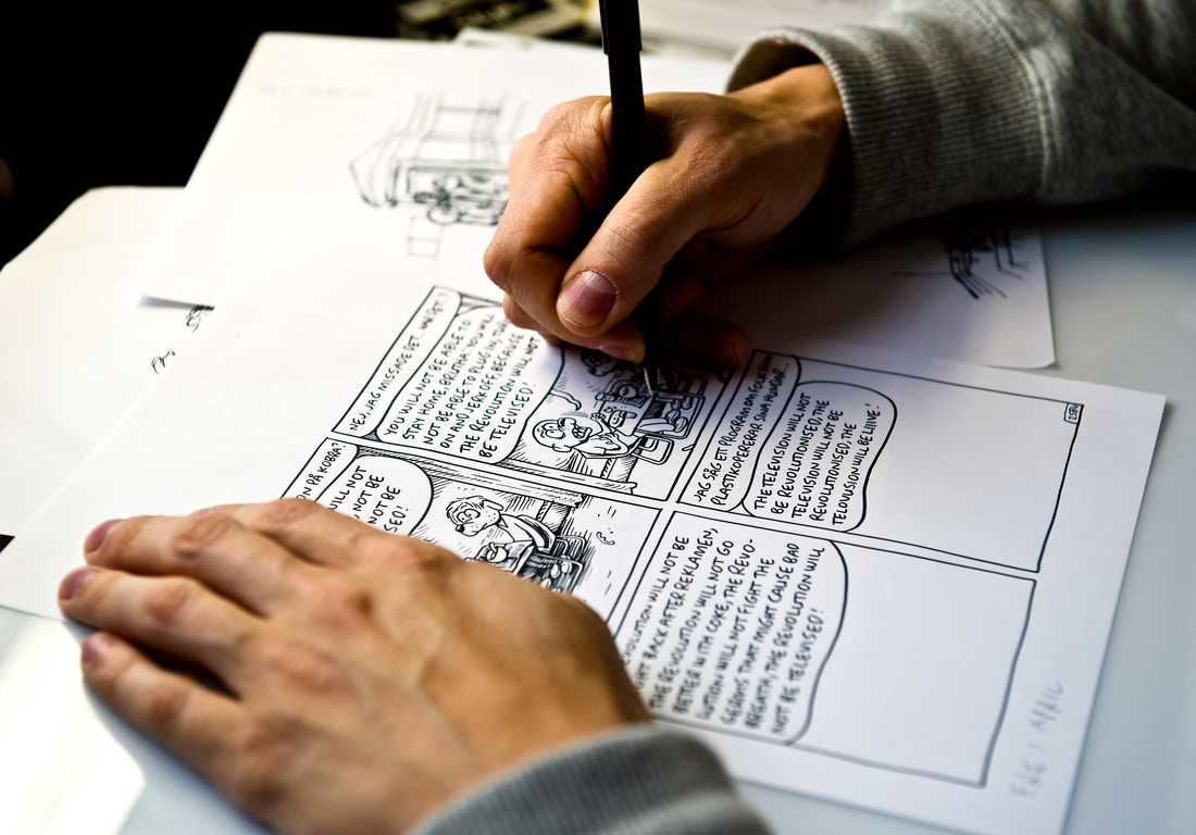Martin Kellerman tecknar en Rocky-stripp