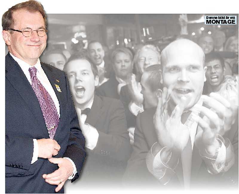 talar om samarbete Till vänster Per Westerberg, på stora bilden SD:s valvaka.