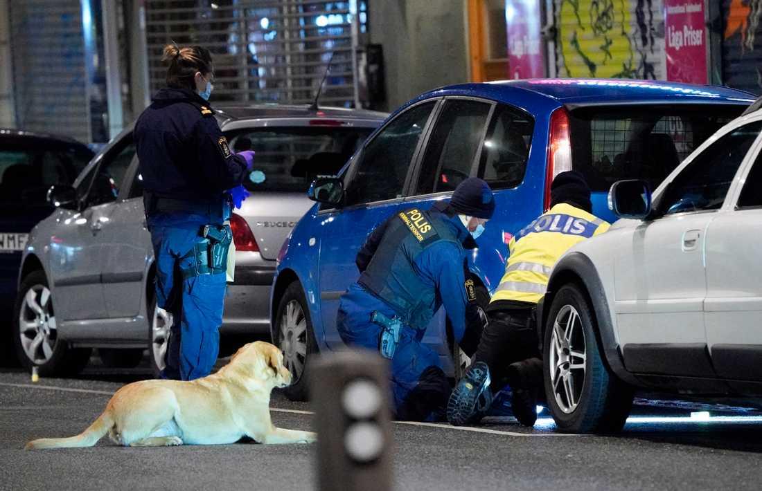 Polisens kriminaltekniker och vapenhund med hundförare säkrar spår efter skottlossningen vid en pizzeria på Ystadsgatan vid Möllevångstorget i Malmö i november. Arkivbild.