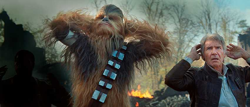 "Chewbacca (Peter Mayhew) och Han Solo (Harrison Ford) i nya Star wars-filmen ""The force awakens"" diggar John Williams soundtrack."