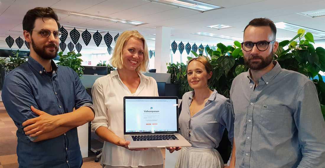 Patrick Wojda, Titti Jersler, Olivia Svenson och Victor Lindbom är några av dem som har jobbat med att ta fram Valkompassen.