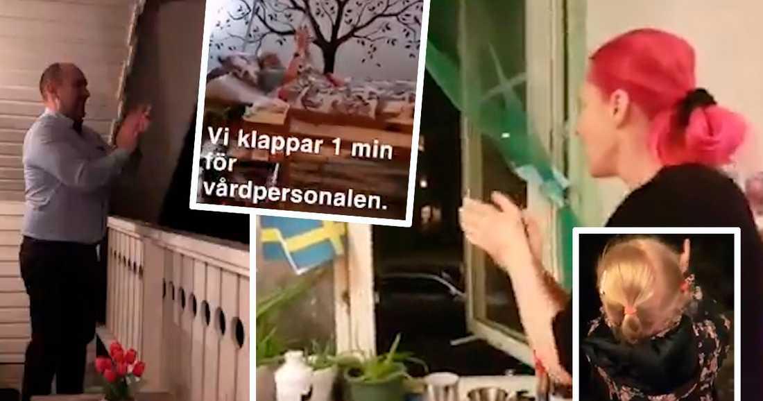 På internet delar personer från hela Sverige med sig av sina hyllningar till vårdpersonalen.