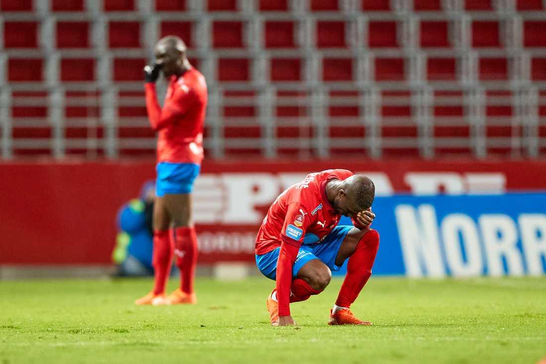 Mohammed Abubakari är en av sex spelare som inte följer med HIF ner i superettan. Arkivbild.