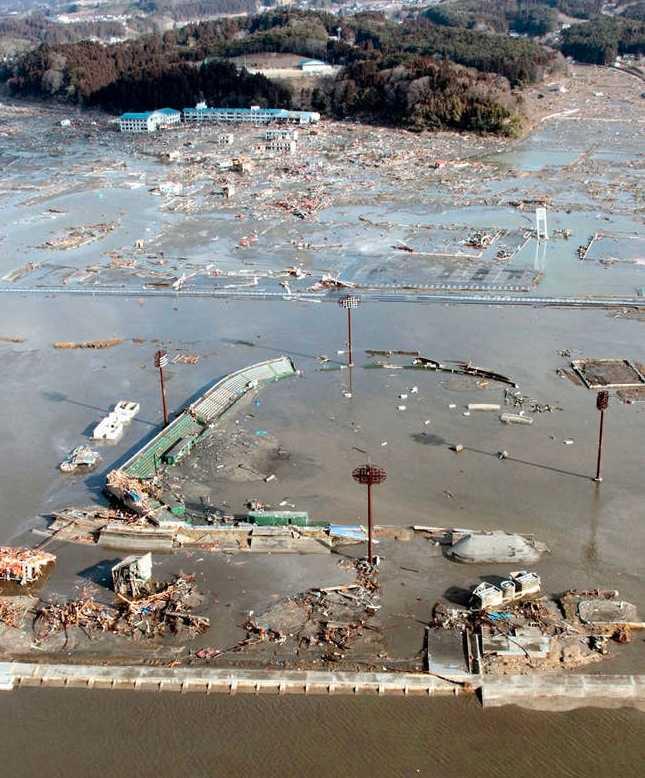 En totalförstörd park i Rikuzentakata.