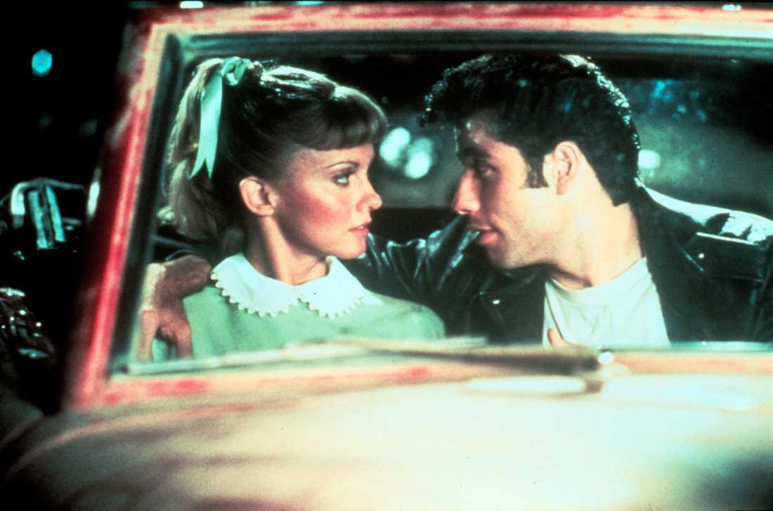 """Olivia Newton-John tillsammans med John Travolta i """"Grease""""."""