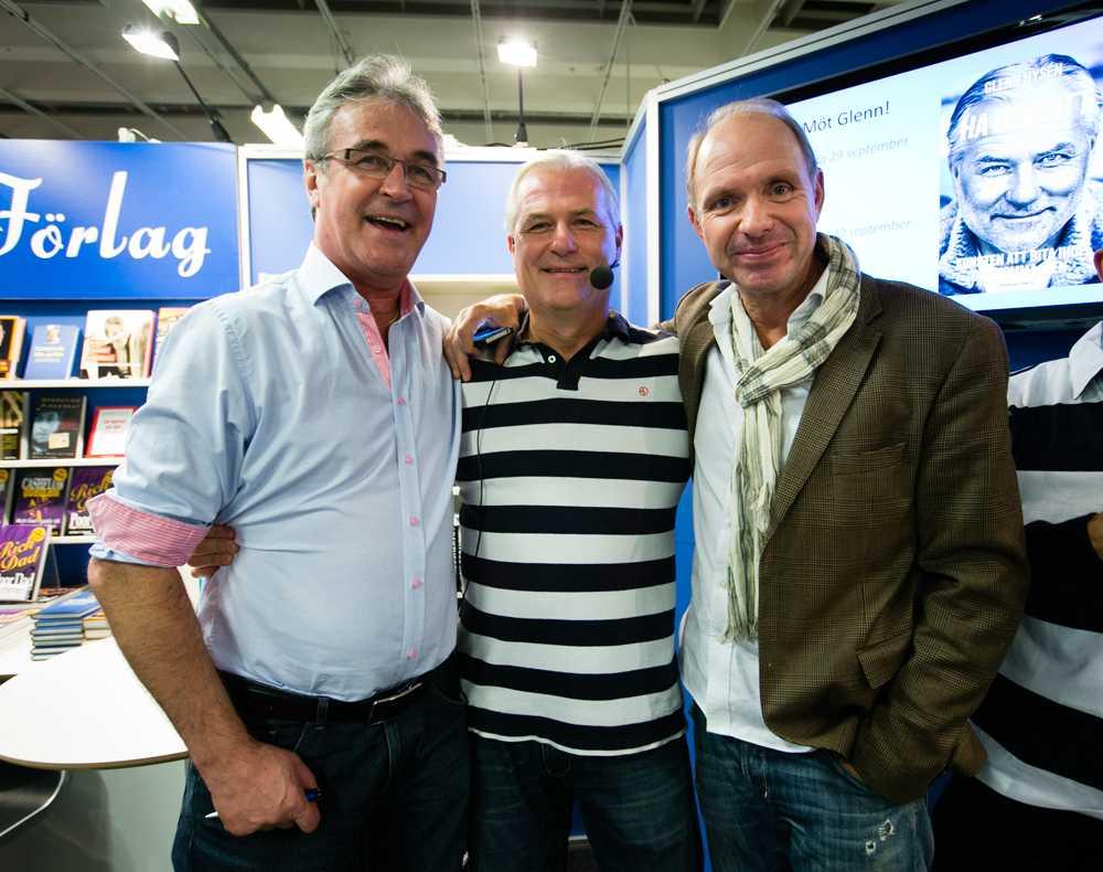 Bokmässan i Göteborg. Ralf Edström, Glenn Hysén och Thomas Ravelli.
