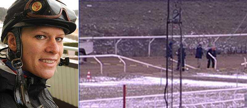 Inez Karlsson fick en mardrömstart på sitt Sverigebesök. Hästen hon skulle rida skenade inför loppet och rev staketet på banan.