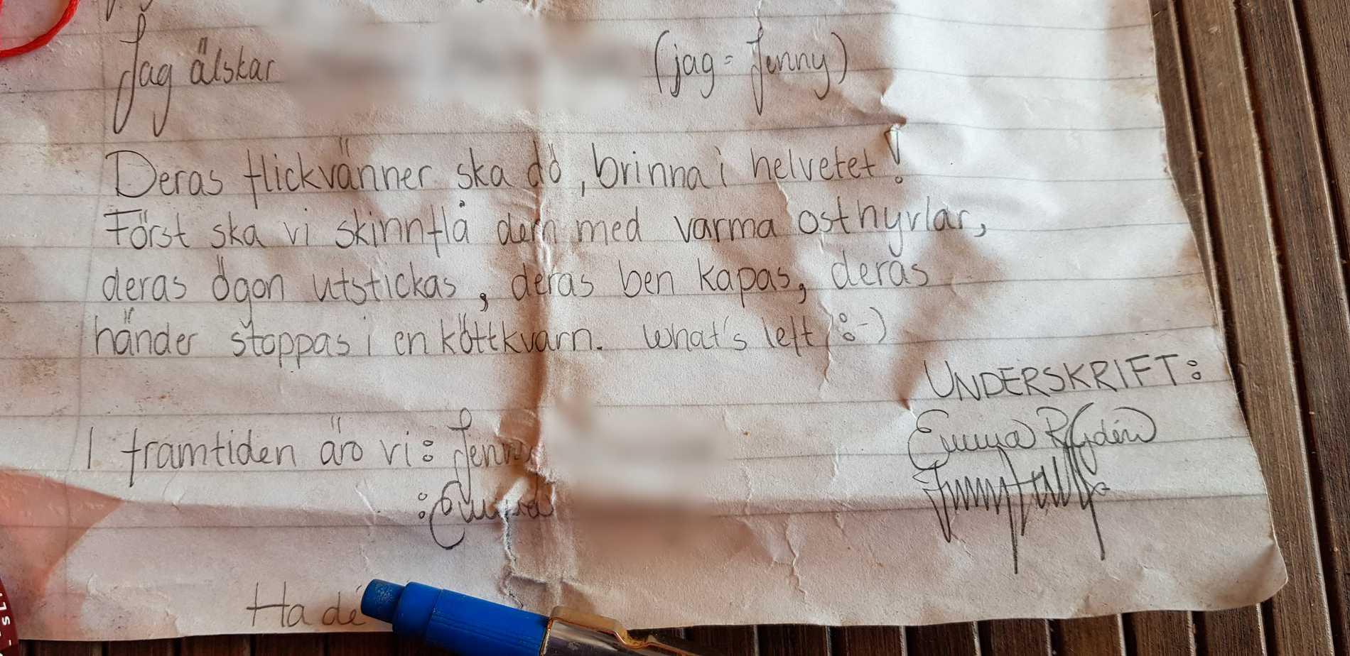 Brevet avslutas klassiskt med tjejernas signaturer.