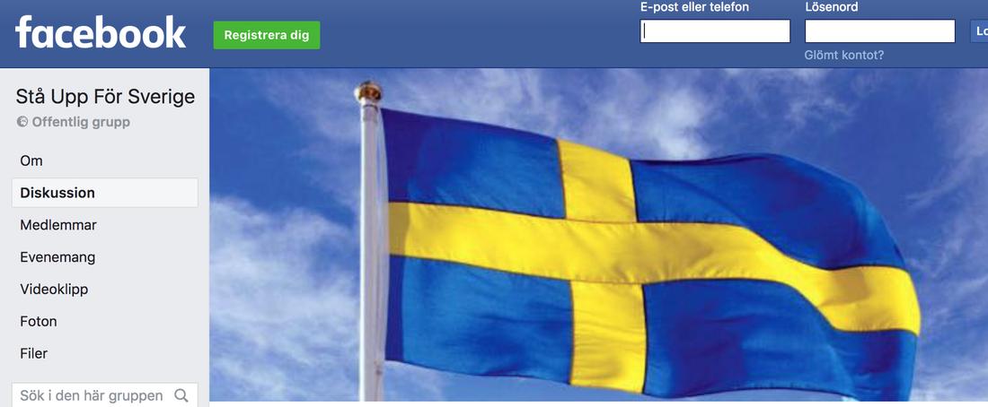 Skärmdump av gruppens Facebooksida.