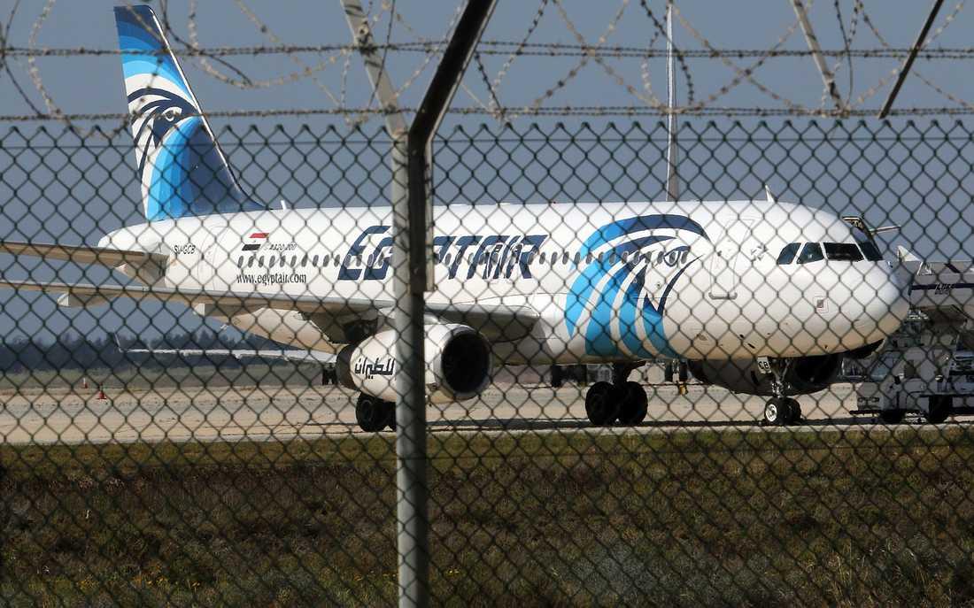 Planet som kapats tillhör flygbolaget Egyptair och är av en Airbus 320.