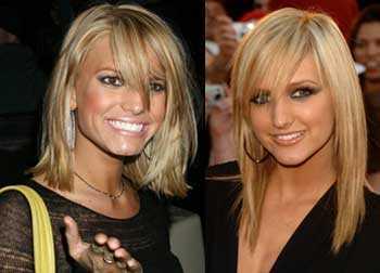I rakt utsläppt hår med snedlugg. Jessica till vänster och Ashlee till höger.