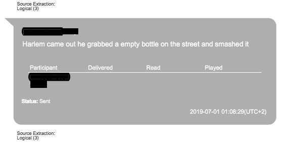 """Enligt textmeddelanden från polisens förundersökning var det den som benämns/kopplas till """"Harlem"""" som var den som slog flaskan."""