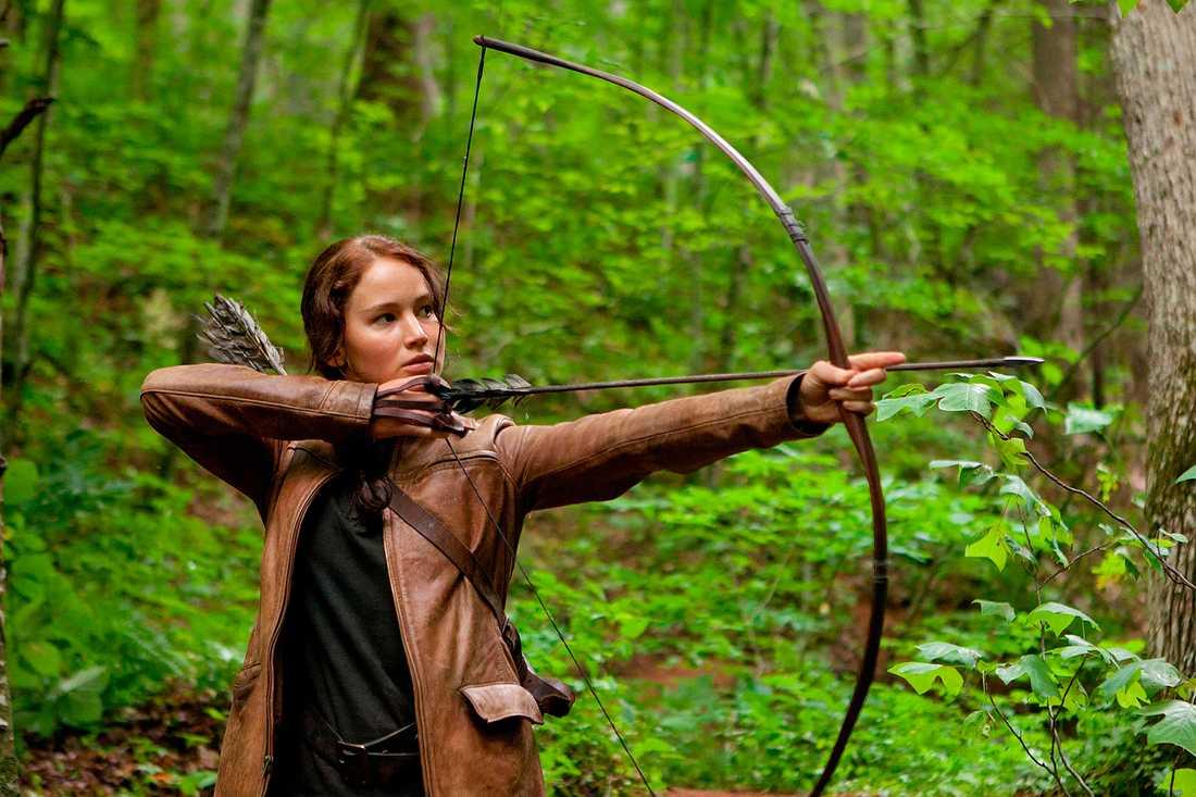 "Jennifer Lawrence som Katniss Everdeen i ""The hunger games""."