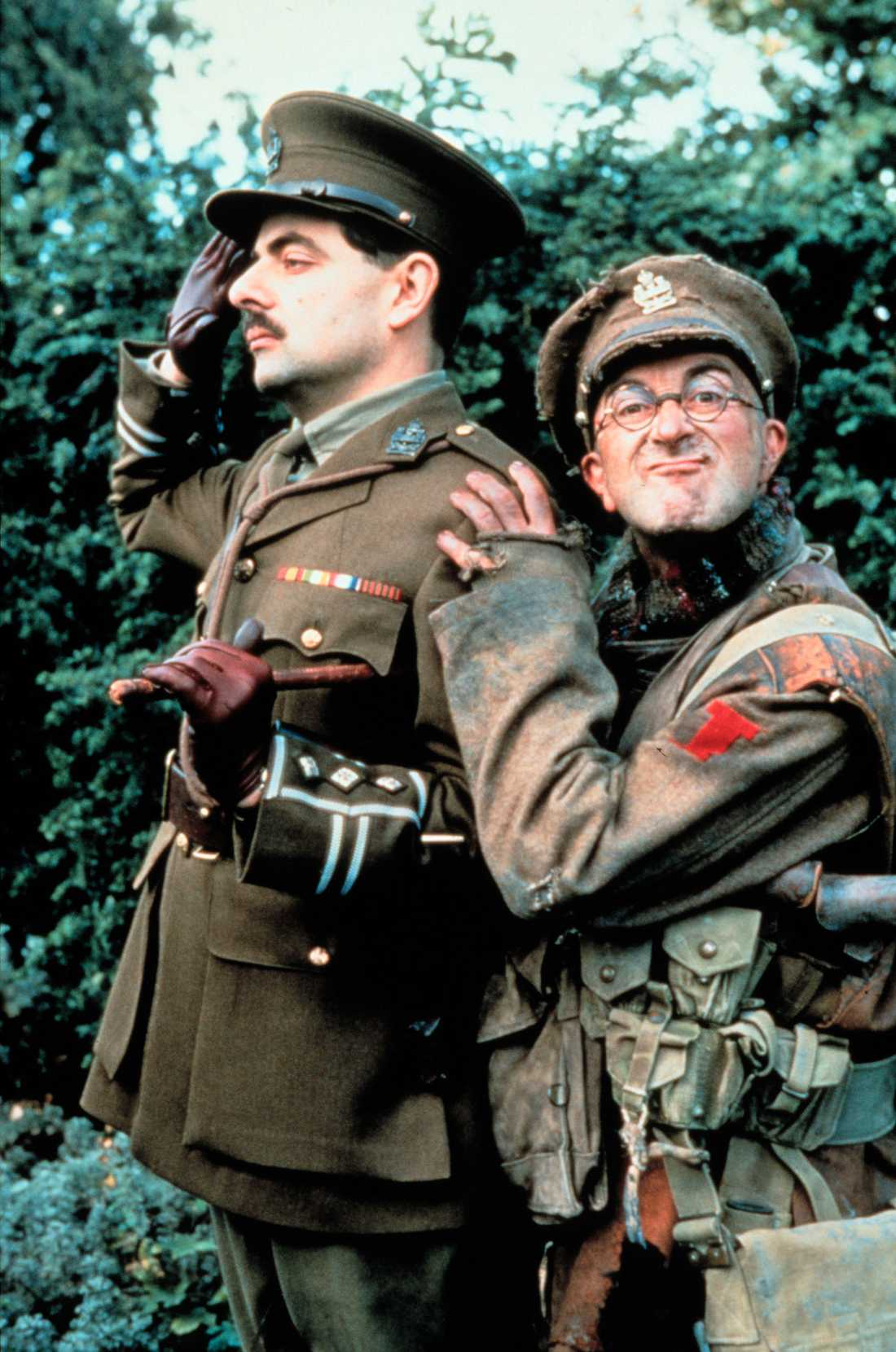Rowan Atkinson och Tony Robinson, som spelade Baldrick, i tv-serien som utspelade sig i olika historiska perioder.