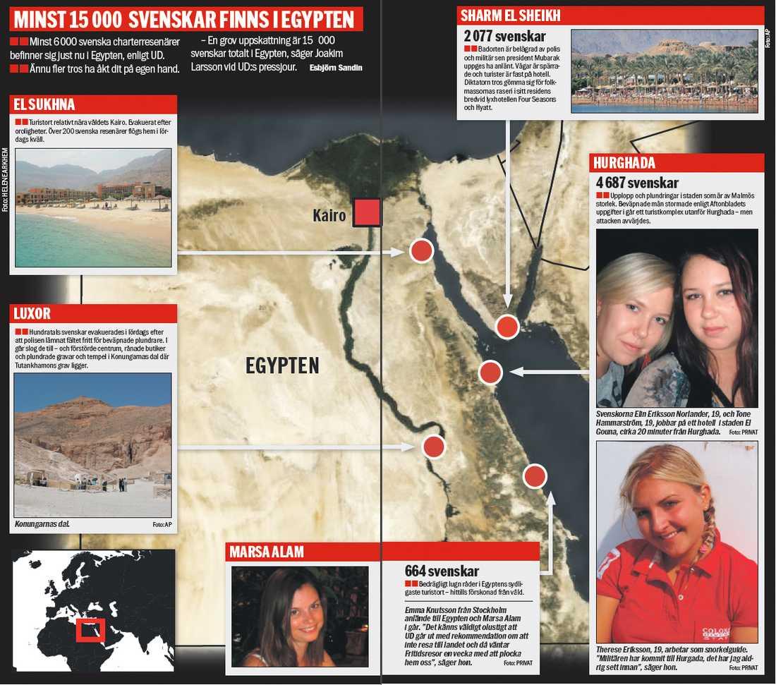 KLICKA PÅ BILDEN FÖR STÖRRE VERSION Minst 6 000 svenska charterresenärer befinner sig just nu i Egypten, enligt UD. Ännu fler tros ha åkt dit på egen hand. – En grov uppskattning är 15000 svenskar totalt i Egypten, säger Joakim Larsson vid UD:s pressjour.