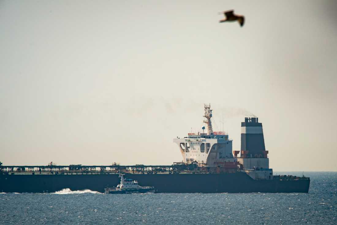 Oljetankern Grace 1 beslagtogs i juli av brittiska marinen utanför Gibraltar.