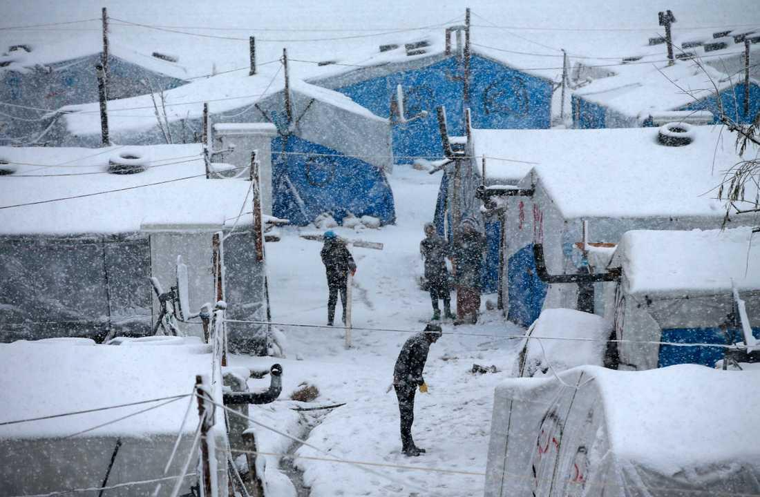 Vintern har dragit in med full kraft över regionen, med minusgrader och ett tjockt snötäcke som följd. Här flyktingläger i Bekaadalen i östra Libanon.