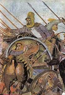 Alexandermosakien fråb 120-100 f Kr visar striden vid Issos 333 f Kr. (Detalj.)