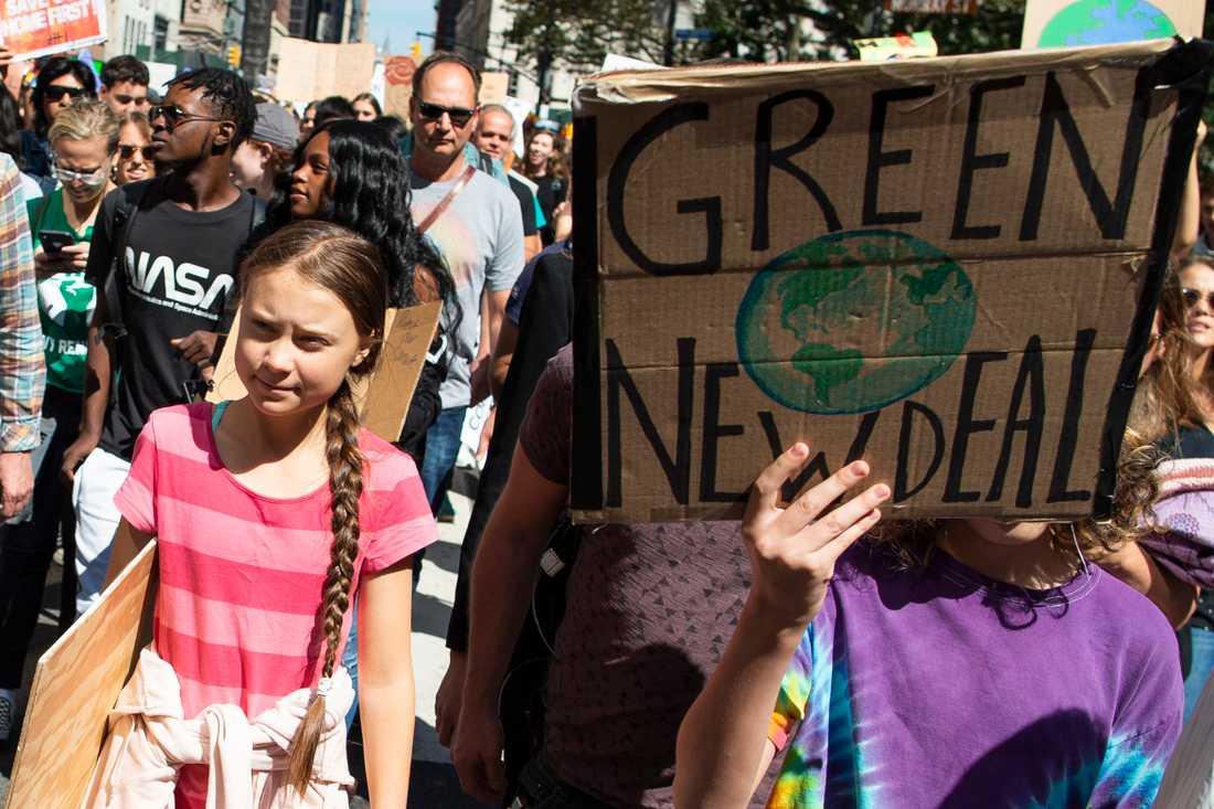 Greta Thunberg var på plats i New York under fredagens globala demonstration för klimatet. Demonstrationen hölls i länder över hela världen och miljontals människor deltog.
