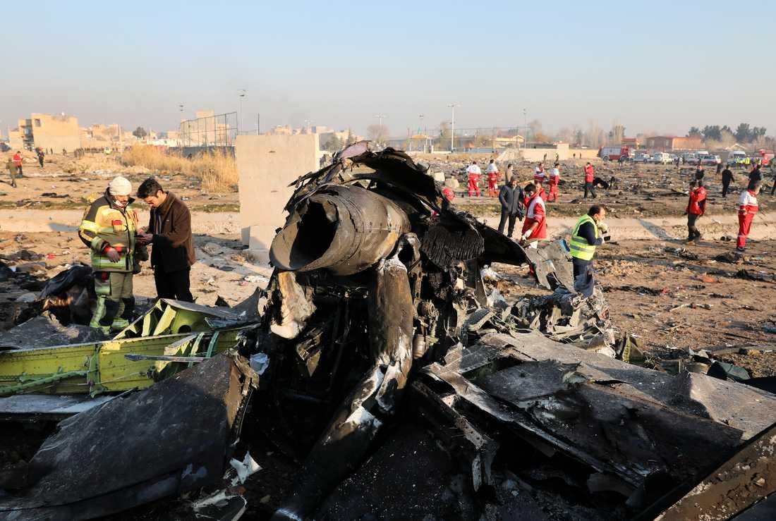 Det ukrainska planet sköts ned strax efter start i Teheran den 8 januari. Ukrainas president anser att den ersättning som Iran föreslagit till de anhöriga är för låg. Arkivbild.