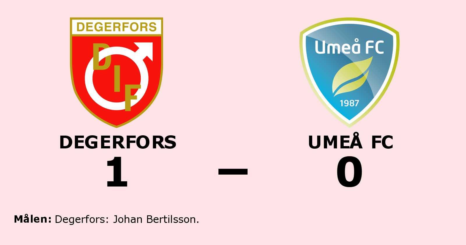 Johan Bertilsson avgjorde när Degerfors sänkte Umeå FC