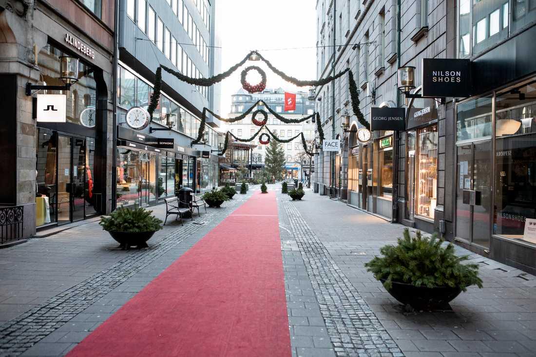 Färre personer än förra året rörde sig i de centrala delarna av de svenska storstäderna inför julen. Arkivbild.