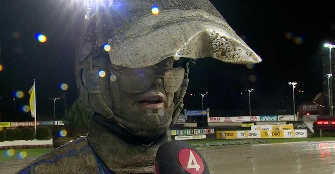 En lerig Björn Goop efter segern.