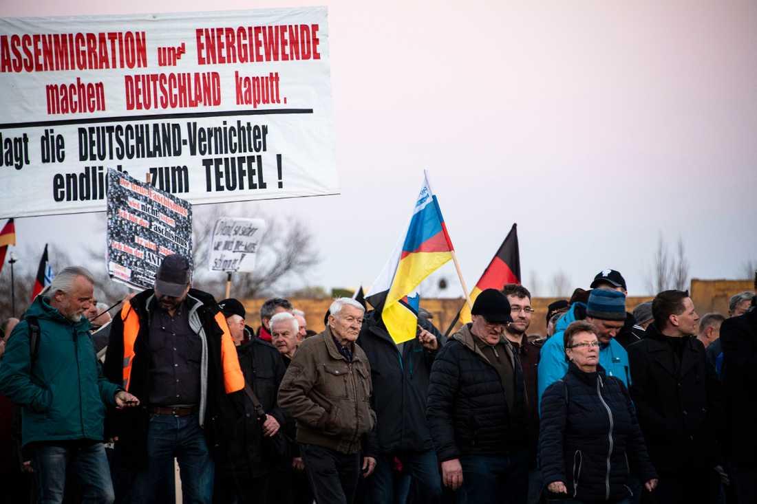 Pegidaanhängare demonstrerar i Dresden.