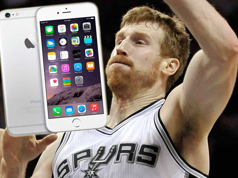 Matt Bonner, San Antonio Spurs skadade sig på sin nya iPhone 6 Plus.
